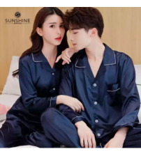 Couple 2 Pieces Pajama Sets Silk Shirt Pajamas for Male & Female