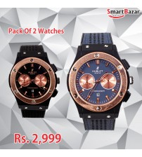 Pack Of 2 -Black and Blue Watches for Men