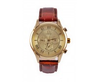 Omega Brown Leather Strap  Men Watch