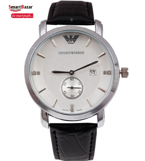 Leather Band White Luxury Dial watch for Men