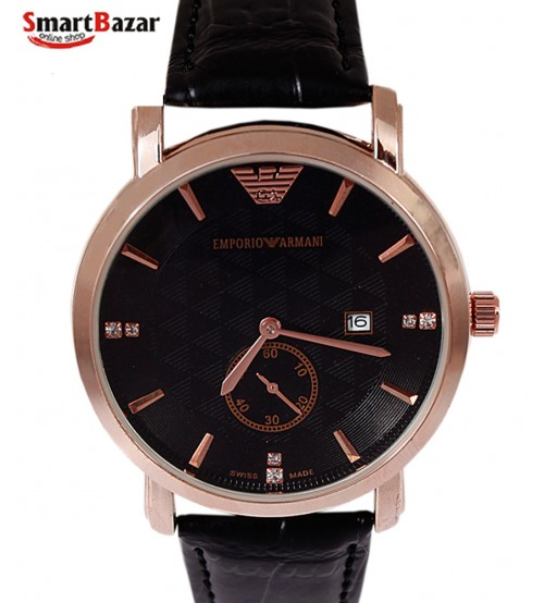 Leather Band Black Dial Watch for men