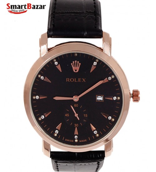 Mens Golden Watch With Leather Band
