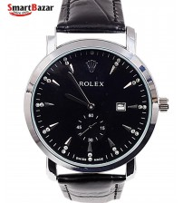Mens Silver Watch With Leather Strap