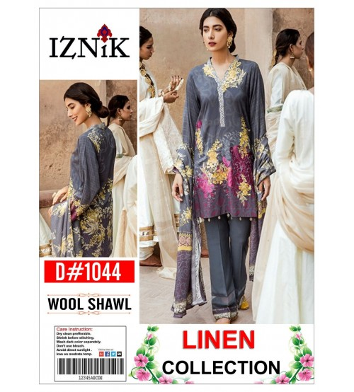 Linen With Wool Shawl Embroidered Gala Daman