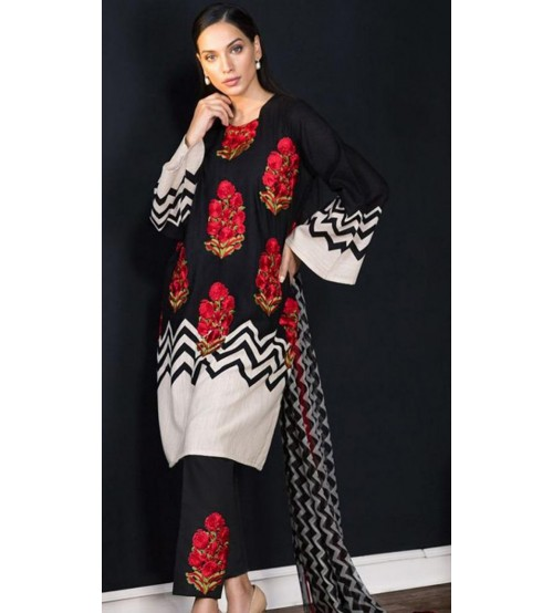Khaddar Embroidered Suit For Womens