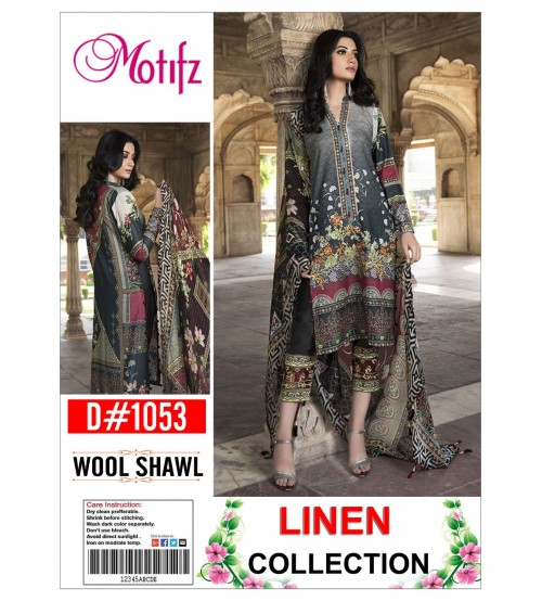 Linen With Wool Shawl Embroidered Gala